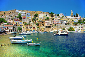Poster European Famous Place travel in Greek islands series - Symi, Dodecanes