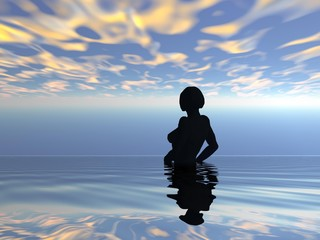 ombra di donna in riva al mare