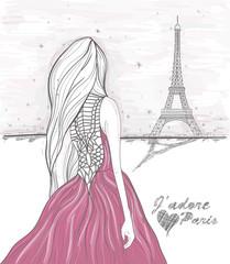 Foto op Canvas Illustratie Parijs Girl looks at eiffel tower. Hand Drawn paris postcard.