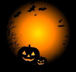 Рисунок в день Хэллоуина с тыквой