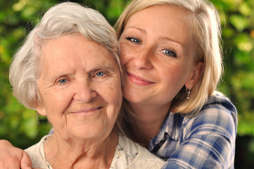 Grandmother and granddaughter.