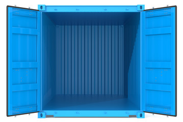 Open Container.Blue Cargo Container. Open Doors. Front view.