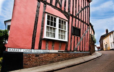 Market Lane,, leading to Guildhall, Lavenham, UK