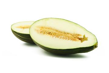 Two halves of piel de sapo melon