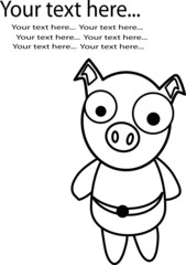 Pig vector paint by illustrator