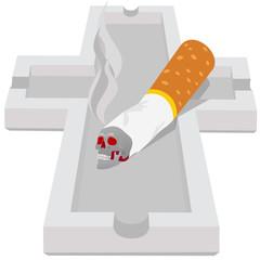 Ashtray with cigarette