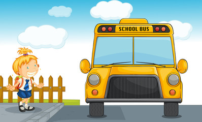 girl and school bus