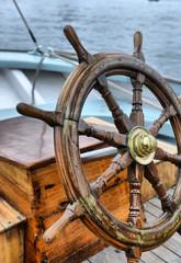 Canvas Prints Ship steering wheel sailboat