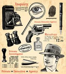 Fond de hotte en verre imprimé Affiche vintage Le détective privé