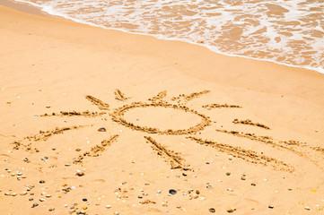 Sun Drawn On Beach
