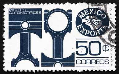 Postage stamp Mexico 1975 Pistons, Mechanical Part