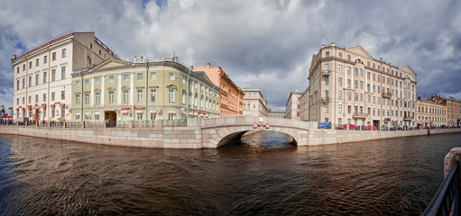 Panorama of buildinga on canal in Saint Petersburg, Russia