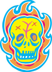Yellow skull with flames