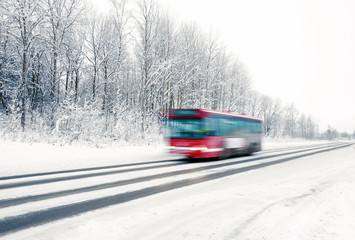Red bus in winter