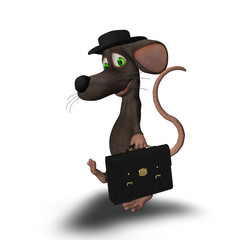 3D mouse with a hat and briefcase