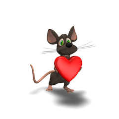 3D mouse holding a red heart