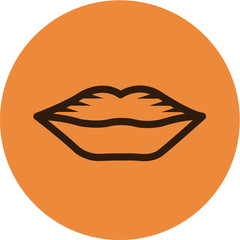 Illustration of lips on an orange background