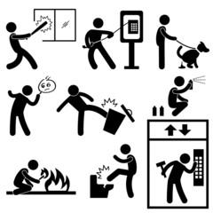Bad Morale People Vandalism Gangster Icon Symbol Sign Pictogram