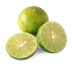 Green limes isolated on white background