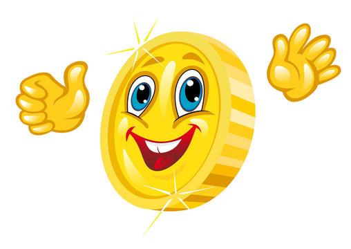 Smiling golden coin