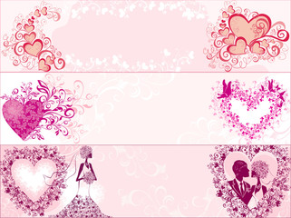 Three wedding banners with hearts