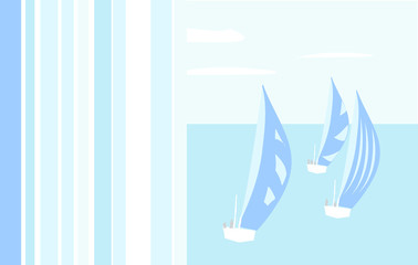 Summer ocean background card with ships