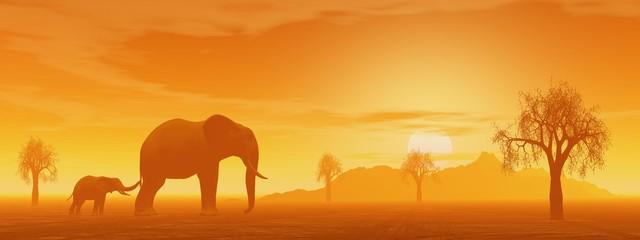 Mum and little elephant in the savannah