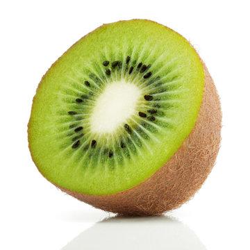 Half of juicy kiwi fruit on white