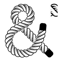 vector black rope ampersand symbol