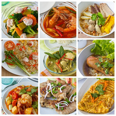 Collage from  Photographs of thai food
