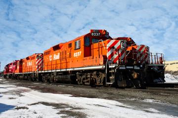 heavy diesel north american locomotive in winter