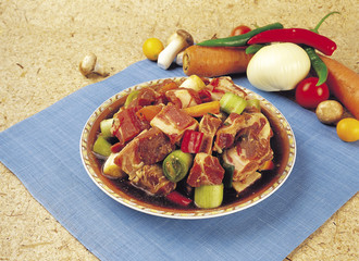 meat marinated in soy sauce with vegetables