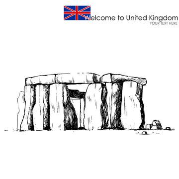 vector illustration of stonehenge against white background