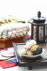 assorted Korean traditional sweets and cookies