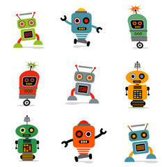 Printed roller blinds Robots set of cute vector retro robots