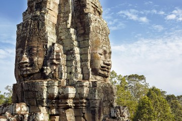 Angkor tower with faces