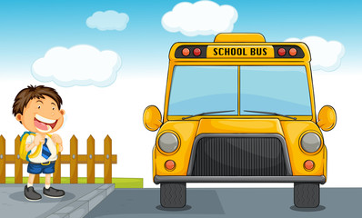 school bus and boy