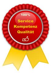 Plakette 100 % Service, Kompetenz und Qualität