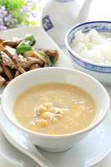 Chinese cuisine, corn and mince meat soup