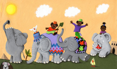 Happy and sad African elephants and children