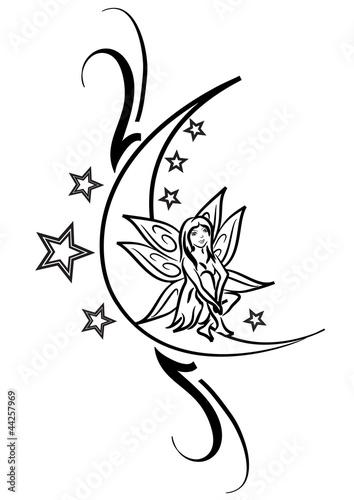 Tatuaggio fatina sulla luna immagini e vettoriali for Scarica clipart