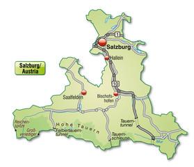 Verkehrskarte vom Kanton Salzburg