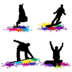 snowboarding grunge  vector illustration