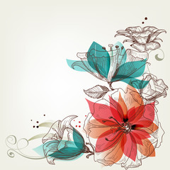 Photo Blinds Abstract Floral Vintage flowers background