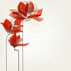 Spoed Fotobehang Abstract bloemen Vector flowers greeting card