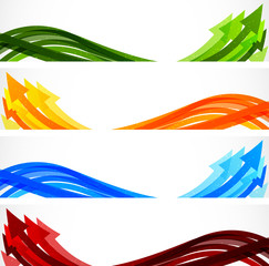 Set of banners with arrows