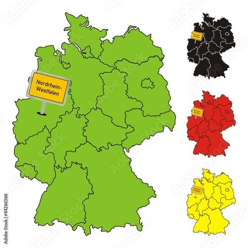 Nordrhein Westfalen Karte.Nordrhein Westfalen Deutschland Bundesland Karte