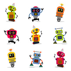 Printed roller blinds Robots et of cute vector retro robots 2