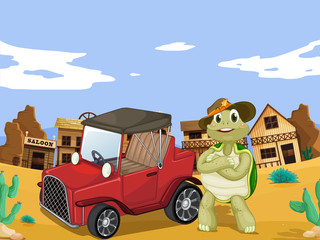 Garden Poster Wild West tortoise and car