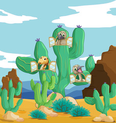 Photo sur Toile Oiseaux, Abeilles various animals and cactus